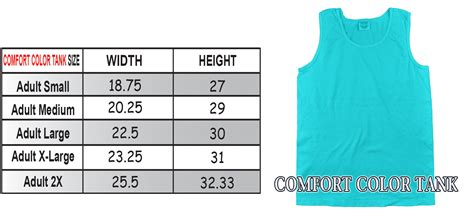comfort colors sizing comfort color sizing charts