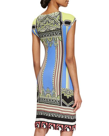 Ribbon Stripe Dress etro ruched shoulder baroque and ribbon stripe dress