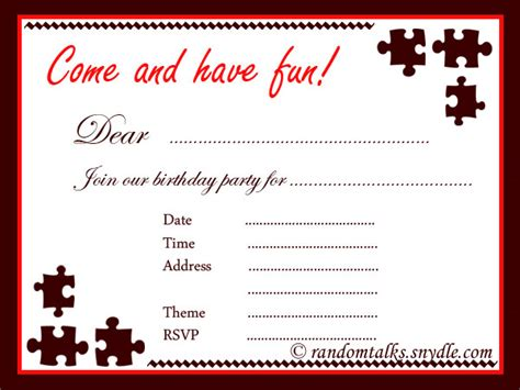 Birthday Invitation Cards For Adults Templates by Free Printable Birthday Invitations Random Talks