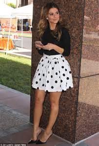 Joanna Polka Spot Skirt s menounos turns heads with skintight leather