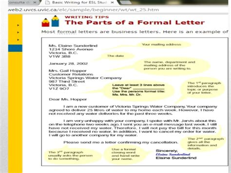 Parts Of Business Letter Slideshare business letter parts