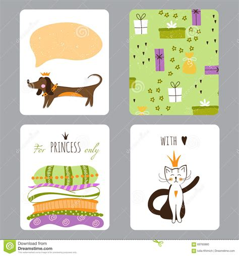 Small Greeting Cards Template by Princess Set Of Cards Stock Vector Image 69760880