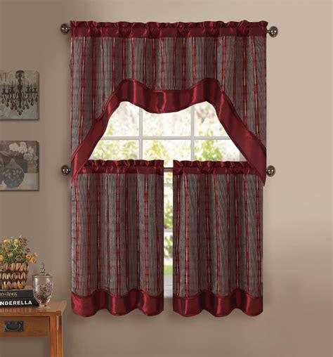 burgundy kitchen curtains burgundy 3 pc kitchen window curtain set double layer 2