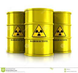 Hazardous Material Storage Containers - yellow barrels with radioactive waste royalty free stock
