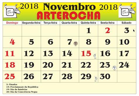 Calendario Novembro 2018 Arterocha Calend 193 Mes Novembro 2018
