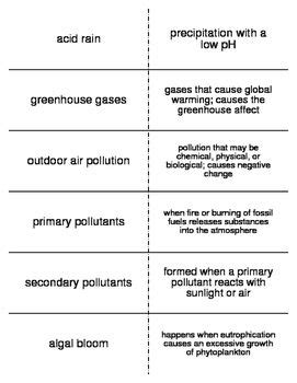 Environmental Problems Vocabulary Flash Cards For Middle