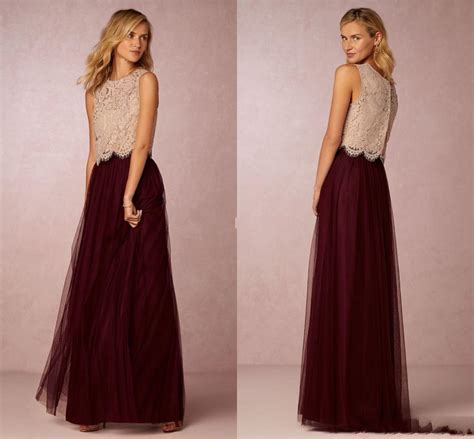 burgundy tutu skirt bridesmaid dresses 2016 chagne lace top a line tulle two pieces prom