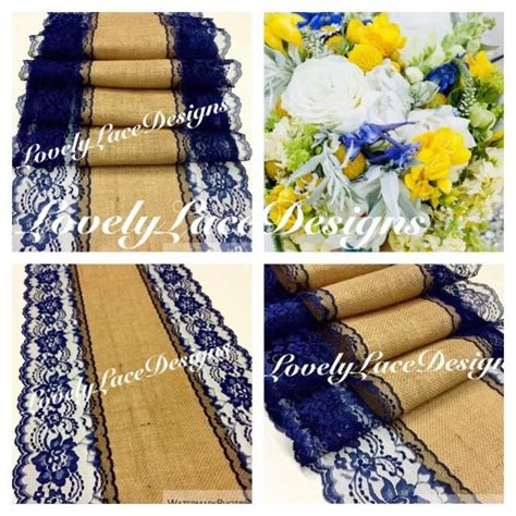 Navy Blue Table Runners Wedding by Navy Blue Burlap Lace Table Runner 4ft 10ft X13in Wide