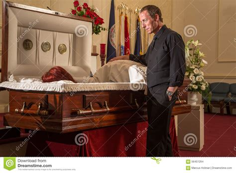 open casket viewing stock photo image of mourning