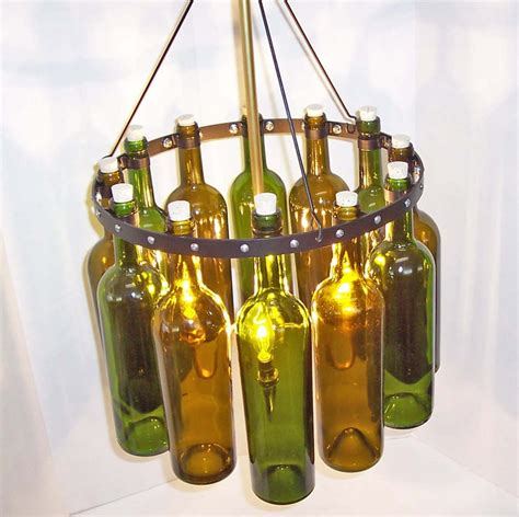 Glass Bottle Chandelier 16 Quot Recycled Wine Bottle Chandelier Quot Sea Glass Quot With Black Wrought I