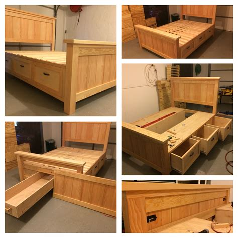 ana white farmhouse storage bed  hidden drawer diy