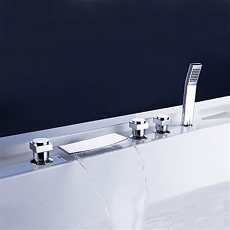 brass waterfall tub faucet with hand shower chrome finish