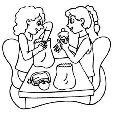 school lunch coloring page girls trading lunches coloring page