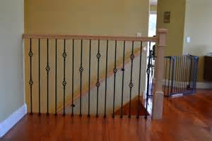 Stair Rail Post by Stair Railing With Oak Newel Post And Iron Ballusters Yelp