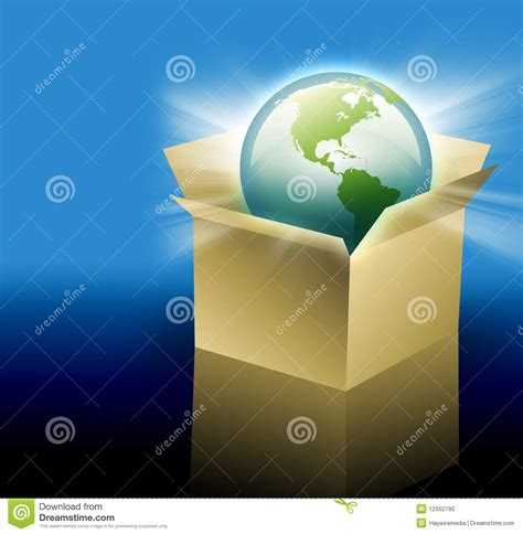 Free Delivery The Earth earth in shipping delivery box stock photo image 12352790
