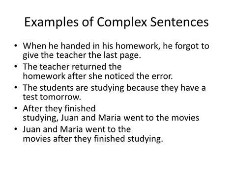exle of compound sentence simple compound and complex sentences ppt