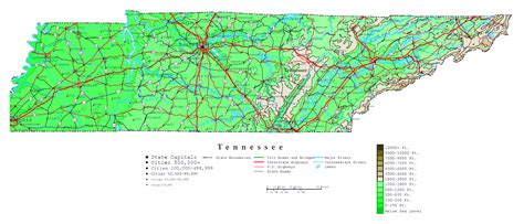 tennessee usa map large detailed elevation map of tennessee state with roads