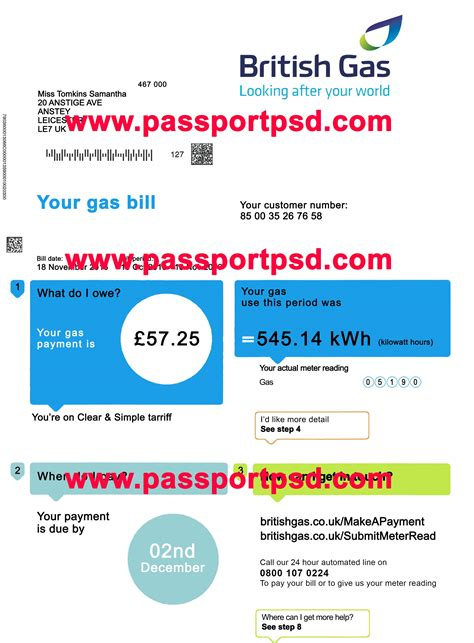 uk utility bill psd template passportpsd