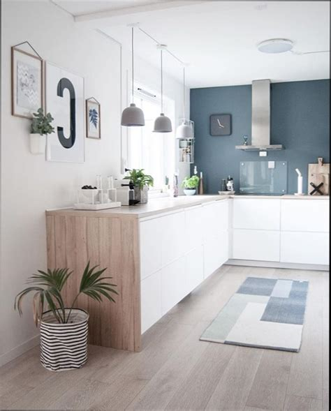 cool cuisine blanc bleu et bois with cuisine