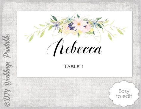 Diy Flower Card Template by Place Card Template Flower Garland Wreath Quot Quot Name