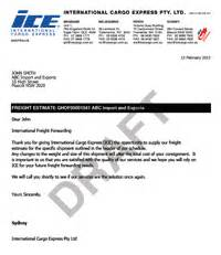 Freight Forwarder Quote Template by International Cargo Express Sle Freight Forwarding Quotes