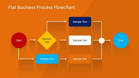 business process powerpoint templates flat business process flowchart for powerpoint slidemodel
