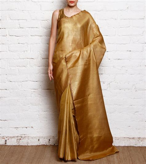 Designer Home Decor India Purchase Online Gold Tissue Saree 500554