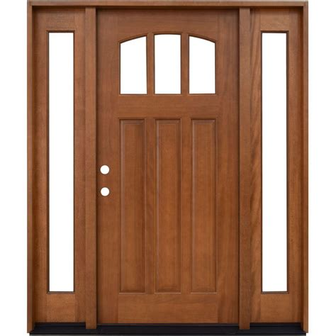 Home Depot Front Doors With Glass Steves Sons 6 Lite Stained Mahogany Wood Prehung Front Door With Sidelites M6410