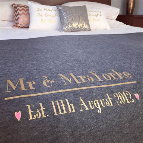 mr and mrs bedding mr and mrs wedding day anniversary bed throw blanket by