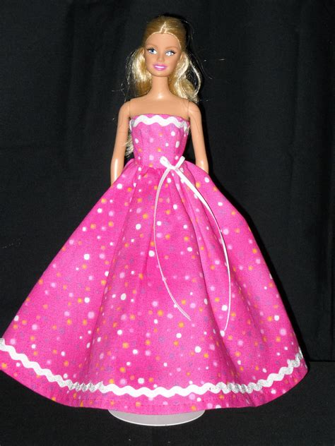 Barby Dress doll dress handmade pink with dots gown