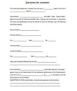 formal subcontractor agreement template free formal word