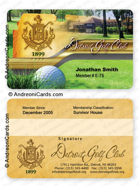 golf membership card template plastic membership card design sle detroit golf club