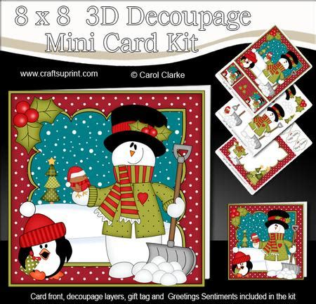 3d Decoupage Kits - 8x8 snowman mini kit 3d decoupage