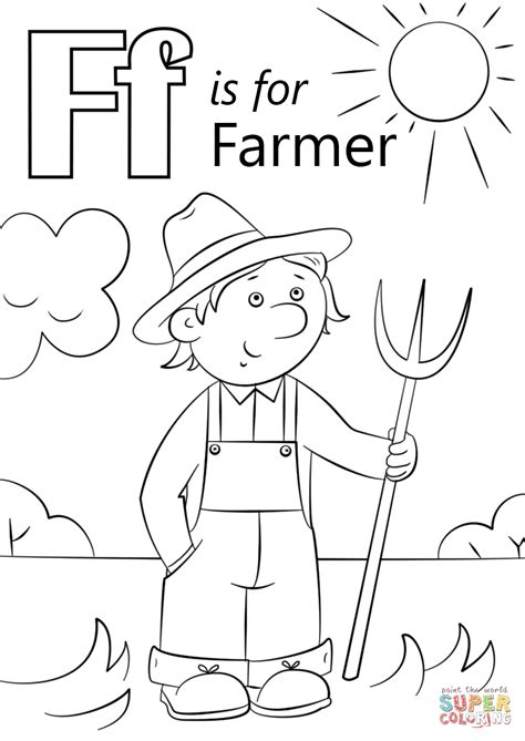 farmer coloring pages letter f is for farmer coloring page free printable
