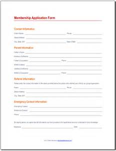 Member Application Form Template by Membership Application Form 171 Best Attendance