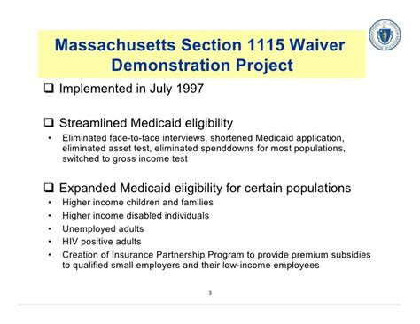 section 1115 waiver transforming enrollment systems massachusetts experience