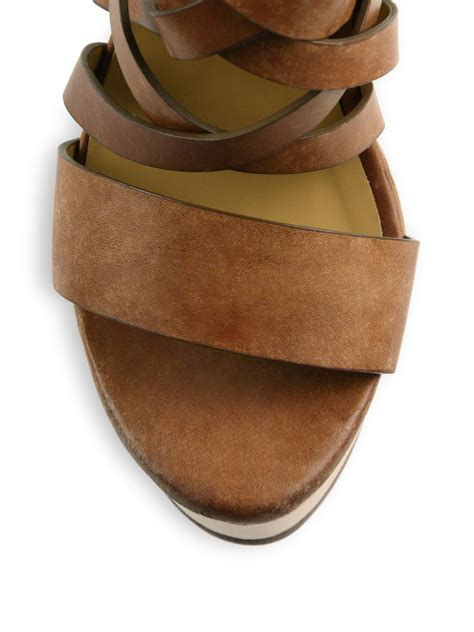 polo ralph sandals lyst polo ralph wooden platform suede