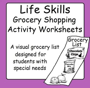 skills grocery store shopping list activity