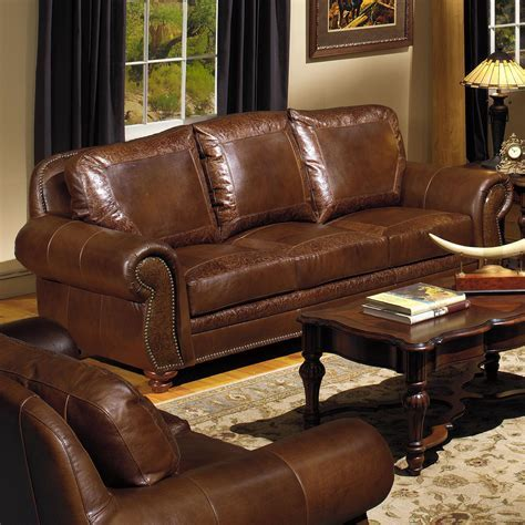 USA Premium Leather 8555 Traditional Leather Sofa with