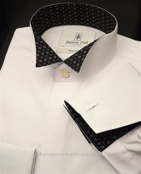 patterned dinner shirt white with black patterned wing collar dress shirt with