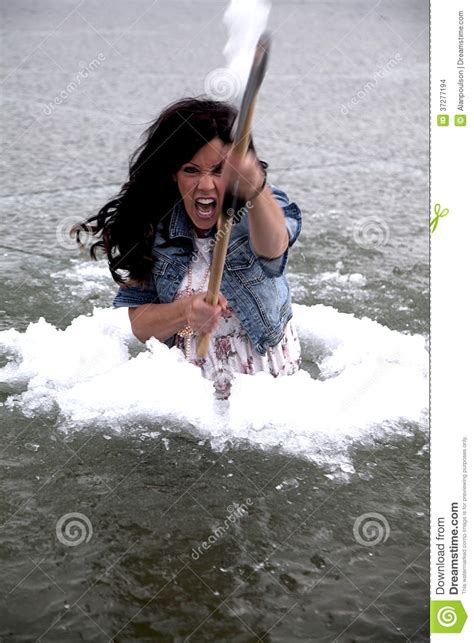 swing her woman in ice hole smile swing stock images image 37277194