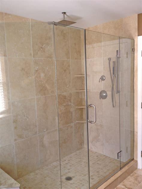 light walnut tumbled shower contemporary bathroom