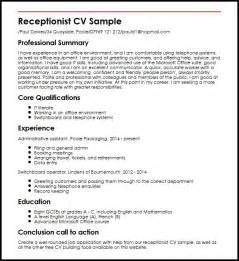 receptionist cv sle myperfectcv