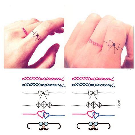 finger tattoo stickers miniature finger hand fake ring tattoo stickers waterproof