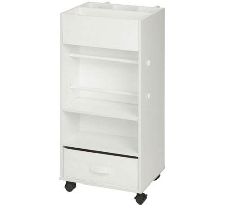White Fabric Drawer by Honey Can Do White Storage Cart With Fabric Drawer Qvc
