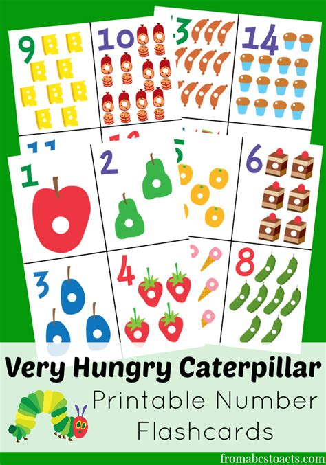 kindergarten printable numbers flashcards the very hungry caterpillar printable number flashcards