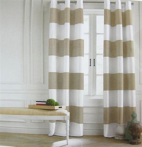 Beige And White Striped Curtains Hilfiger Wide Stripes Curtains 2 Panels 50 X 84 Quot Eyelet Heading Modern Window Drapes