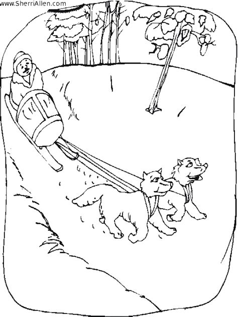 dog sled race coloring coloring pages