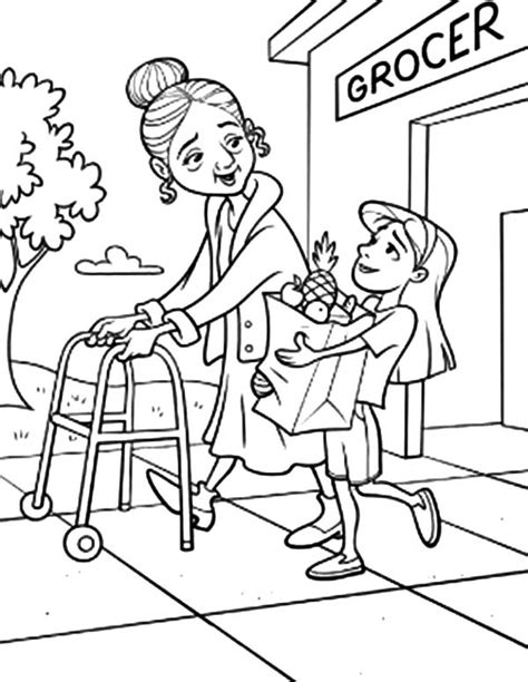 31 coloring pages showing helping others sunday