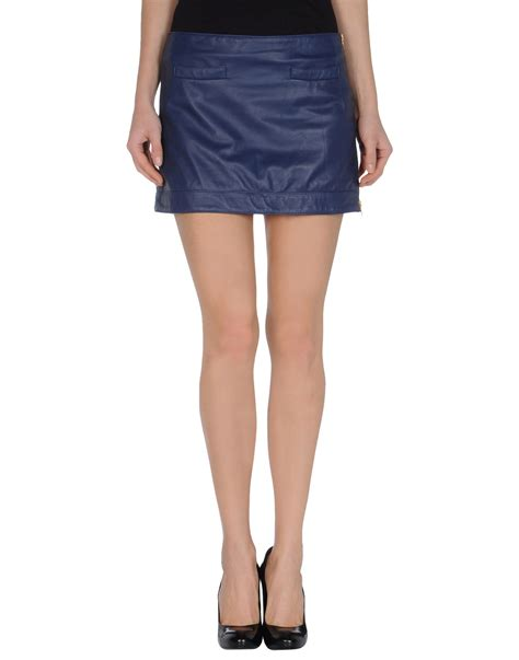 mauro grifoni leather skirt in blue blue lyst